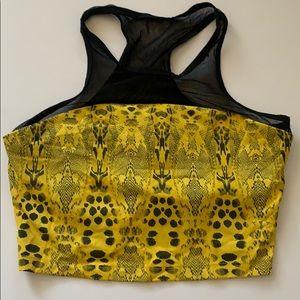 Bebe sport yellow black snake print sports bra S